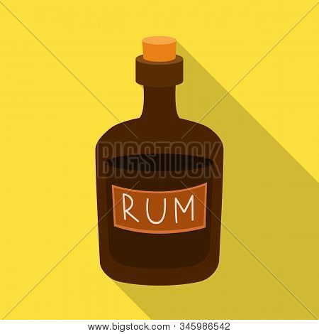 Isolated Object Of Rum And Bottle Symbol. Collection Of Rum And Stopper Vector Icon For Stock.