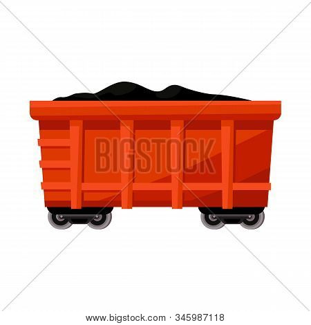 Isolated Object Of Wagon And Cargo Symbol. Graphic Of Wagon And Coal Stock Symbol For Web.