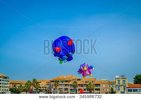 """Marseilles, France, Sept 2019, Two Kites In The Sky At The """"festival Of The Wind"""" On Seaside Park Pr"""