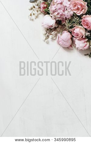 Floral Styled Stock Photo With Pink Roses, Hydrangea, Peony, Chameleucium Flowers And Locust Tree Bl