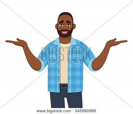 Smiling African American Man Presenting Hands Gesture. Stylish Person Spreading Hands To Copy Space.