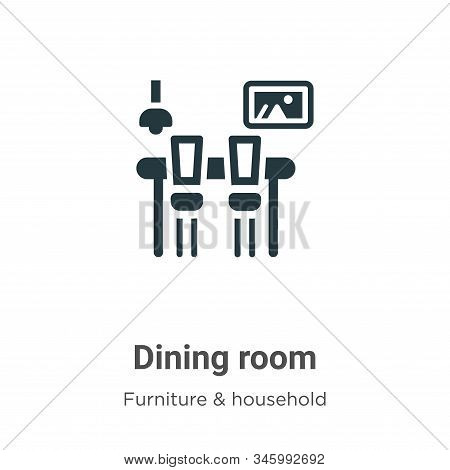 Dining Room Vector Icon On White Background. Flat Vector Dining Room Icon Symbol Sign From Modern Fu