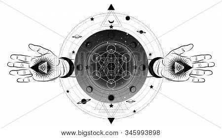 Metatrons Cube,  Flower Of Life, Sacred Geometry, Third Eye With Hand Esoteric Spiritual Icon And Th