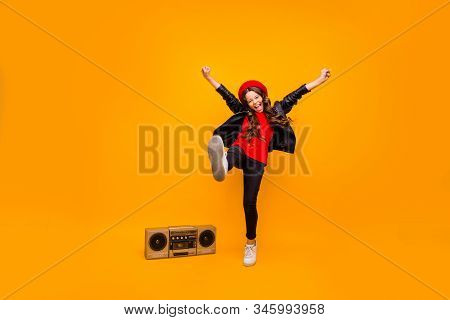 Full Length Body Size View Of Nice Attractive Cheerful Cheery Crazy Brunette Long-haired Girl Wearin