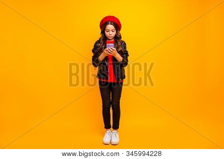 Full Length Body Size View Of Her She Nice Attractive Pretty Lovely Focused Long-haired Girl Wearing
