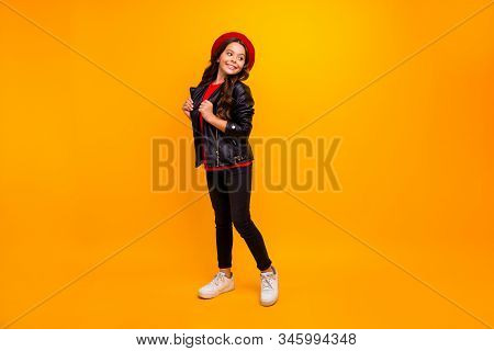 Full Length Body Size View Of Her She Nice Attractive Pretty Charming Cheerful Cheery Long-haired Gi