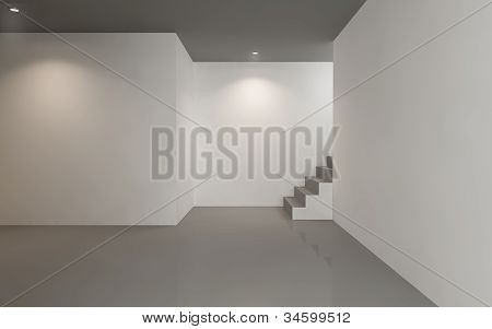 Interior gallery minimal grey white  empty room