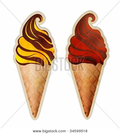 Ice cream cones strawberry, banana, orange, vanilla, chocolate, summer sweet dessert