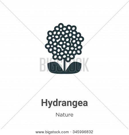 Hydrangea Vector Icon On White Background. Flat Vector Hydrangea Icon Symbol Sign From Modern Nature