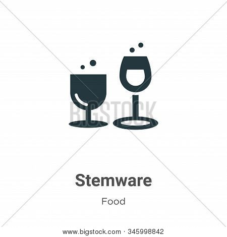 Stemware Vector Icon On White Background. Flat Vector Stemware Icon Symbol Sign From Modern Food Col