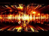 Background design of musical notes perspective fractal grids lights wave and sine patterns on the subject of music sound equipment and processing audio performance and entertainment poster