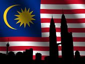Petronas Towers with rippled Malaysian flag illustration poster