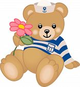 Scalable vectorial image representing teddy sailor offers flower, isolated on white. poster