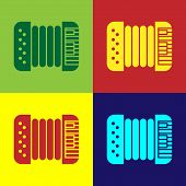 Color Musical instrument accordion icon isolated on color background. Classical bayan, harmonic. Vector Illustration poster
