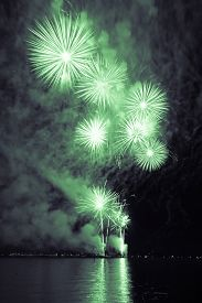 Luxury Fireworks Event Sky Water Sea Show With Green Stars. Premium Entertainment Magic Star Firewor