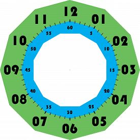 Clock Dial Black Numbers For Minutes And Seconds And Green Cyan Cadran On Transparent Background