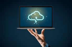 Cloud Computing Backup Concept - Connect Notebook Computer To Cloud. Businessman Or Information Tech