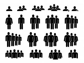 People Icons. Human Community Group, People Crowd. Meeting Employees, Staff Members And Population S