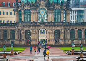 Dresden, Germany - September 22, 2014: Dresden Zwinger In Germany, Saxony, Europe. People Walking Un
