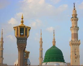 Green Dome In Prophet Mosque At Cloudy Day, Medina,saudi Arabia