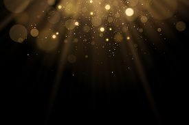 Golden Flash Of Light With Glares Bokeh On A Black Background. Rays Of Light With Glitter. Vector Il