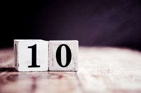 Number 10 Isolated On Dark Background- 3d Number Ten Isolated On Vintage Wooden Table