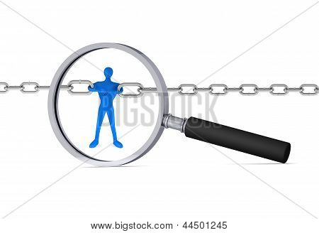 3D Man Holding A Chain Together In The Magnifier/ 3D Icon