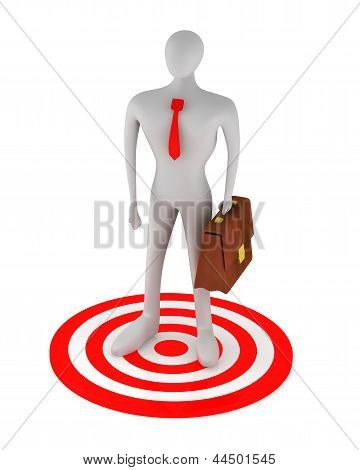 3D Man On The Red Target