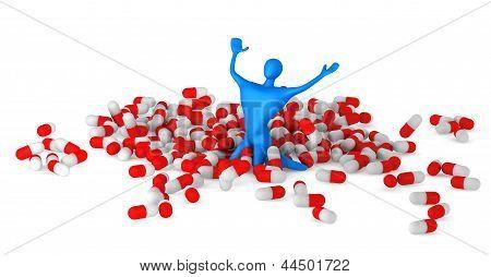 Happy 3D Man Among Pills