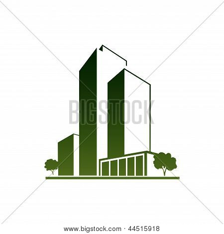Green apartments over white
