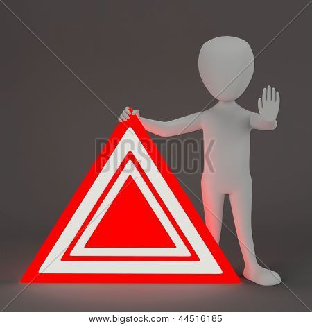 3D Small People - Emergency Sign.