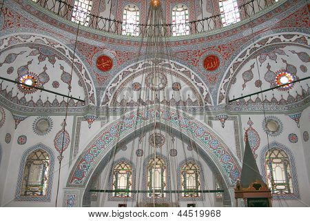 ISTANBUL- MARCH 08,2013:Interior of historical Zeynep Sultan Mosque