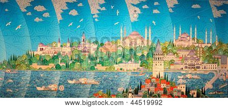 ISTANBUL-JANUARY 15:Maniature painting of historical Istanbul city