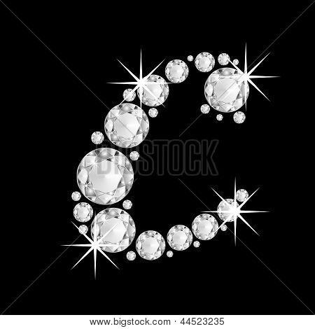 Luxury jewelry alphabet diamonds C