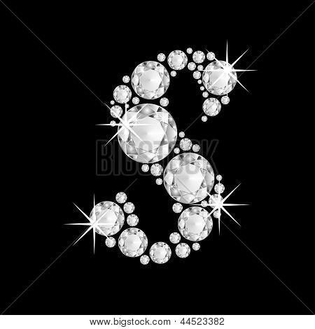 Luxury jewelry alphabet diamonds S