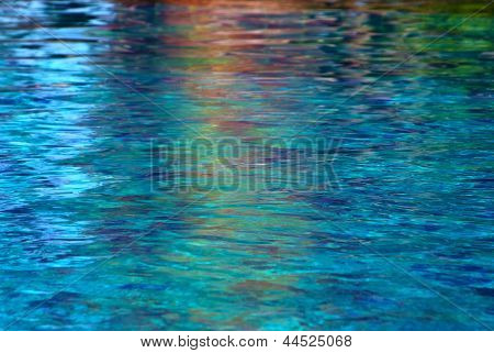 Colorful  Reflections Of Pool Water.