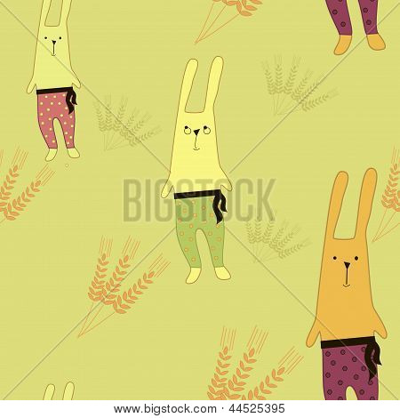 pattern with bunnies  Vector illustration
