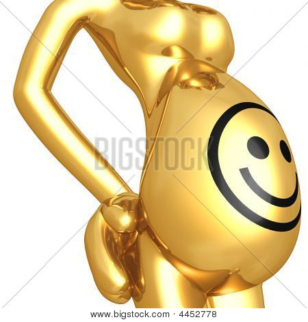 Smiley Face On Pregnant Belly