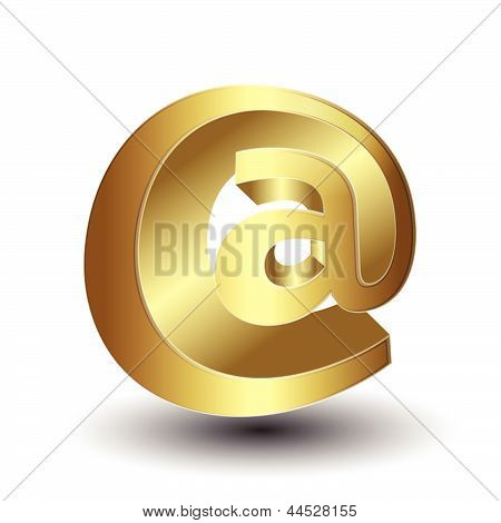 Metallic Email Symbol On Isolated Background