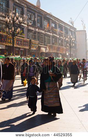 Tibetan Mother Child Lhasa Walking Barkhor Crowd