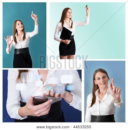 Collage Of Futuristic Businesswoman