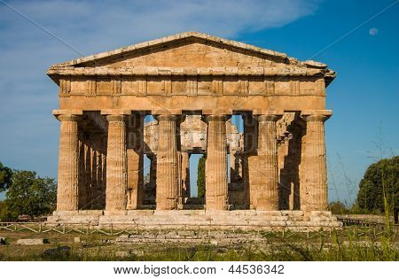 Temple At Paestum Italy Frontal