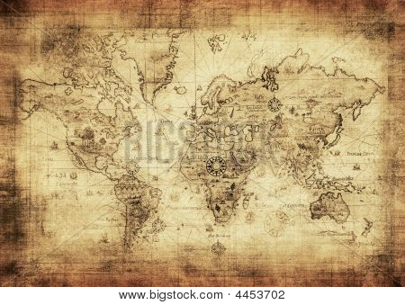 highly detailed ancient map of the world poster