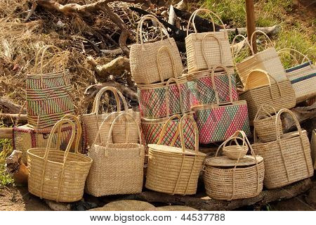 Close-up Of Cane Baskets For Sale