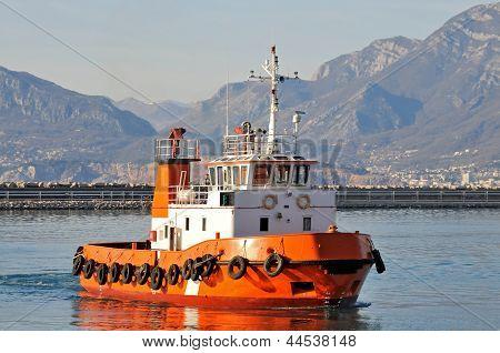 Orange tugboat