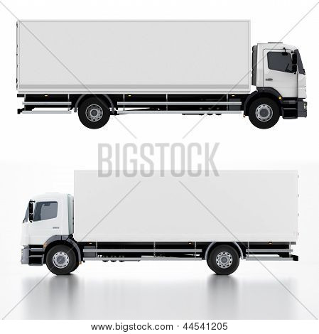 Delivery / Cargo Truck isolated on white background 3d render poster