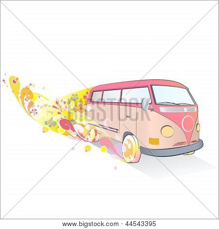 Retro Van Design With Fantastic Flowers. Vector Design..