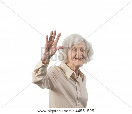 Happy Elder Lady Waving