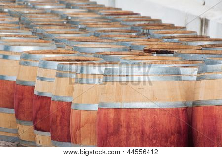 Barrel of wine in the harvest season ready to be filled Stellenbosch Western Cape South Africa poster