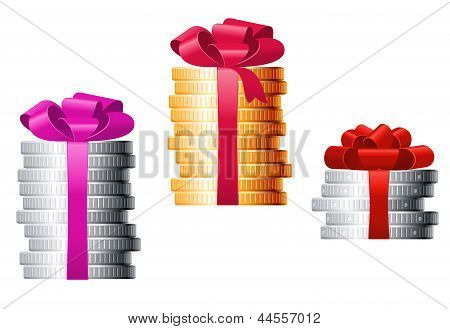 Stacks of coins with colorful ribbons